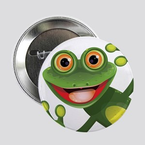 """Happy Green Frog 2.25"""" Button"""