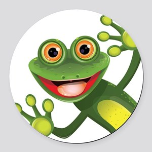 Happy Green Frog Round Car Magnet