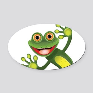 Happy Green Frog Oval Car Magnet
