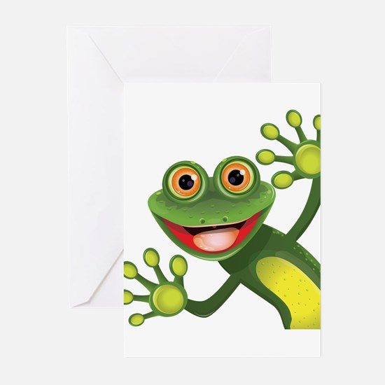 Happy Green Frog Greeting Cards