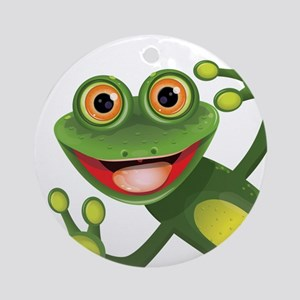Happy Green Frog Ornament (Round)