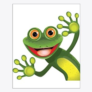 Happy Green Frog Posters
