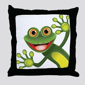 Happy Green Frog Throw Pillow