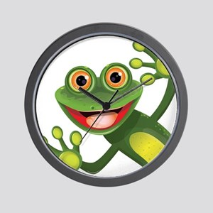 Happy Green Frog Wall Clock