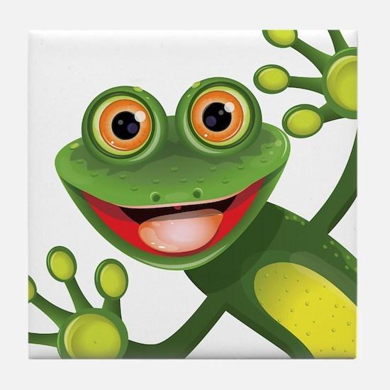Happy Green Frog Tile Coaster