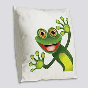 Happy Green Frog Burlap Throw Pillow