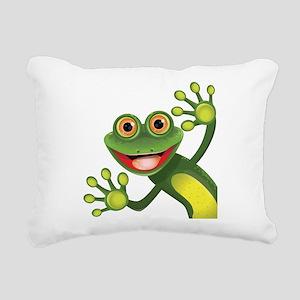 Happy Green Frog Rectangular Canvas Pillow
