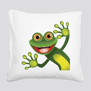 Happy Green Frog Square Canvas Pillow