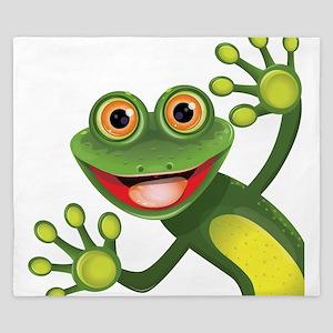 Happy Green Frog King Duvet