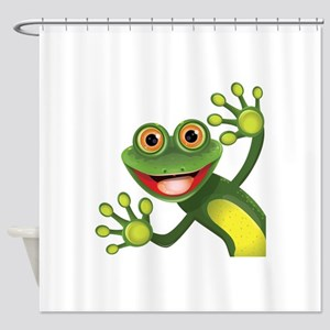 Happy Green Frog Shower Curtain