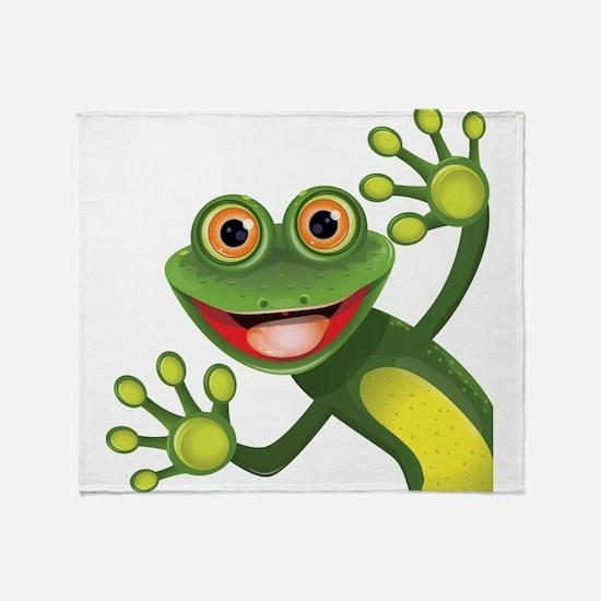Happy Green Frog Throw Blanket