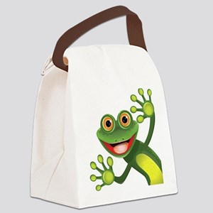 Happy Green Frog Canvas Lunch Bag