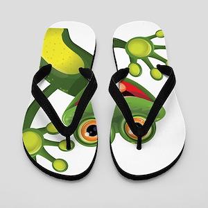 Happy Green Frog Flip Flops