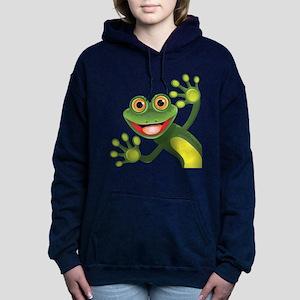 Happy Green Frog Women's Hooded Sweatshirt