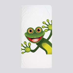 Happy Green Frog Beach Towel