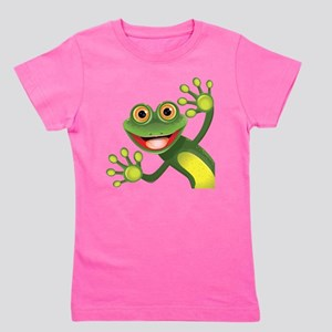 Happy Green Frog Girl's Tee