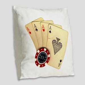Poker - 4 Aces Burlap Throw Pillow