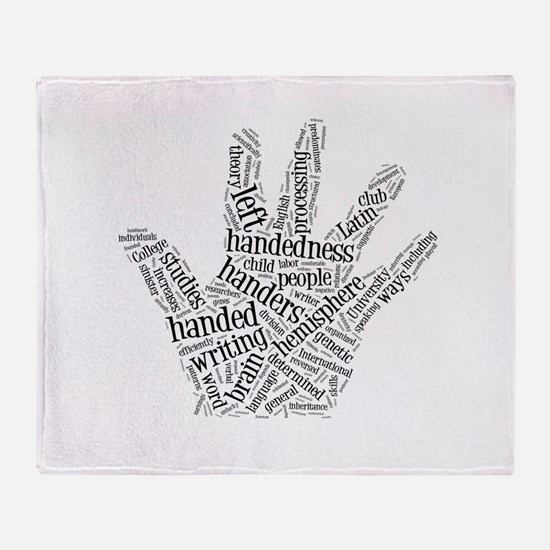 Left Handed Word Cloud Throw Blanket
