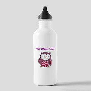 Custom Purple Love Owl Water Bottle