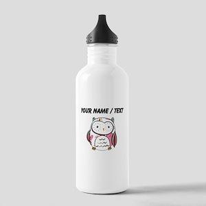 Custom White Love Owl Water Bottle