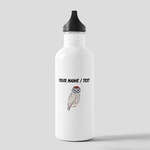 Custom White Owl Water Bottle
