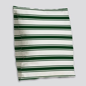 Forest Green and White Stripes; Striped Burlap Thr