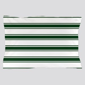 Forest Green and White Stripes; Striped Pillow Cas