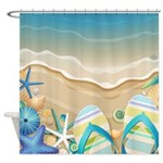 Beach Flip Flop Shower Curtain