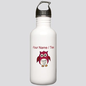 Custom Red Cartoon Owl Water Bottle