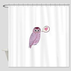 Purple Love Owl Shower Curtain
