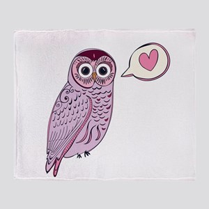 Purple Love Owl Throw Blanket