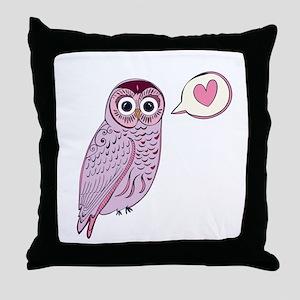 Purple Love Owl Throw Pillow