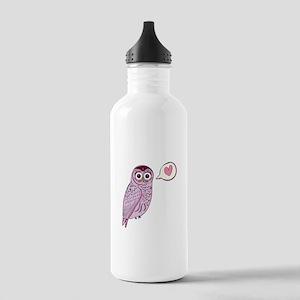 Purple Love Owl Water Bottle