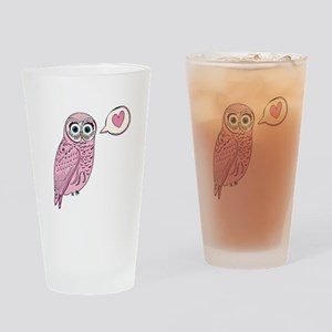 Pink Love Owl Drinking Glass