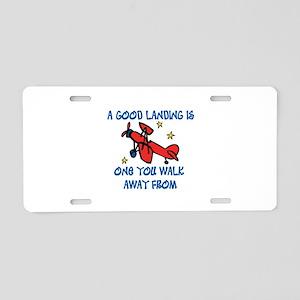 A Good Landing Aluminum License Plate