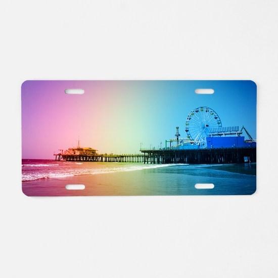 Santa Monica Pier Rainbow Aluminum License Plate