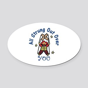 Strung Out Oval Car Magnet