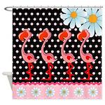 Flamingo Polka Dot Daisy Shower Curtain