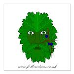 "Folk Customs - Green Man Square Car Magnet 3"" x 3"""