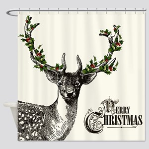 Modern Vintage Christmas woodland deer Shower Curt