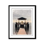Waterside Gazebo Framed Panel Print