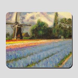 Flower Fields Windmill Landscape Triptych Panel 2