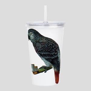 Gray Parrot Bird Acrylic Double-wall Tumbler