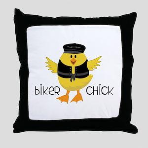 Biker Chick Throw Pillow