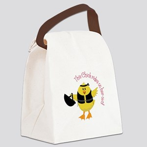 This Chik Rides Canvas Lunch Bag