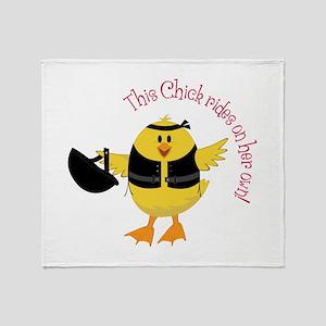 This Chik Rides Throw Blanket
