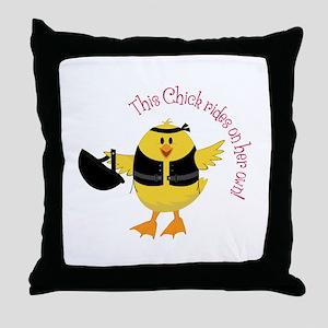 This Chik Rides Throw Pillow