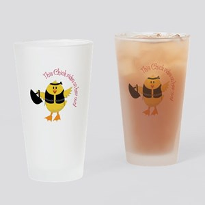 This Chik Rides Drinking Glass