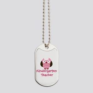 Pink Owl Kindergarten Teacher Dog Tags