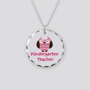 Pink Owl Kindergarten Necklace Circle Charm